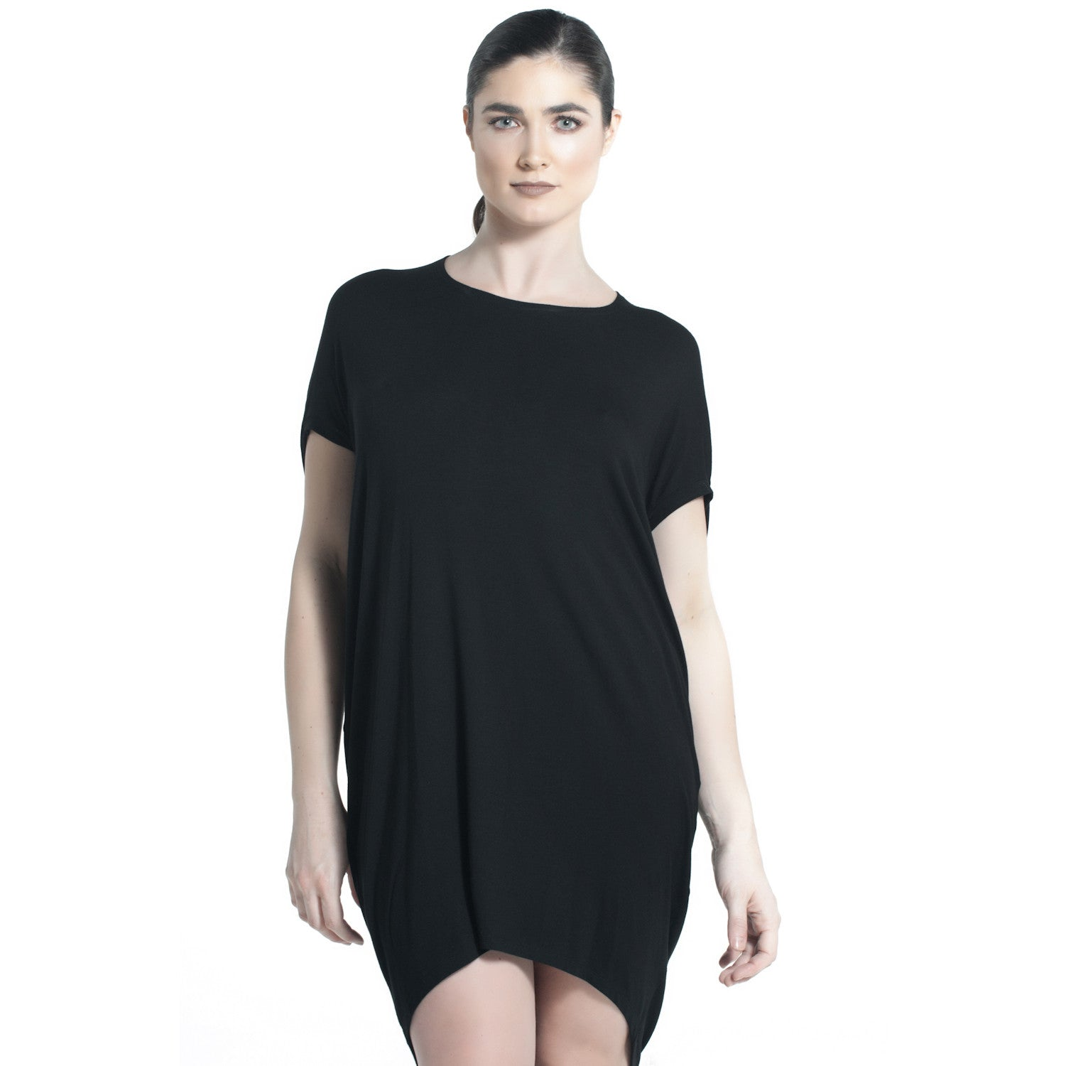 JERSEY DRAPE DRESS IN BLACK