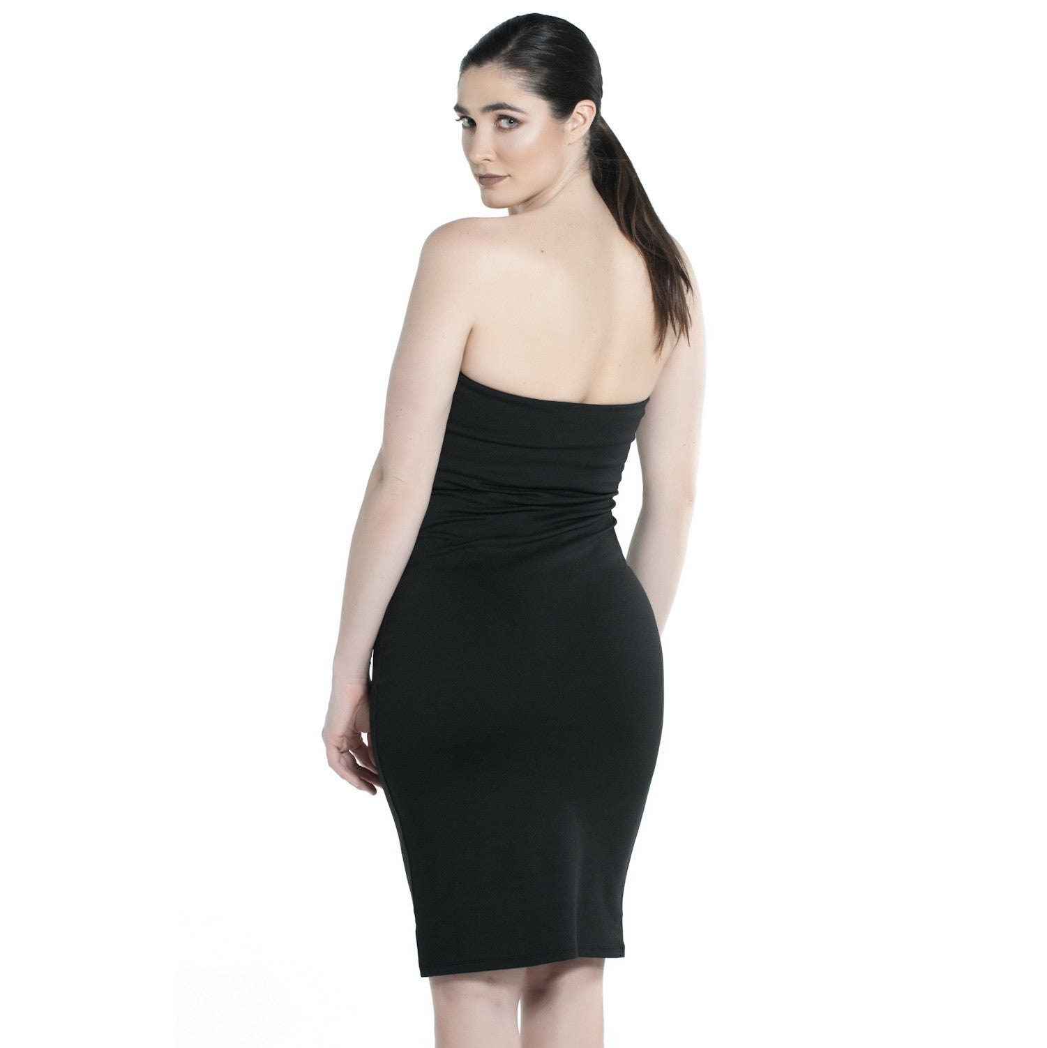 BLACK PONTE TUBE DRESS