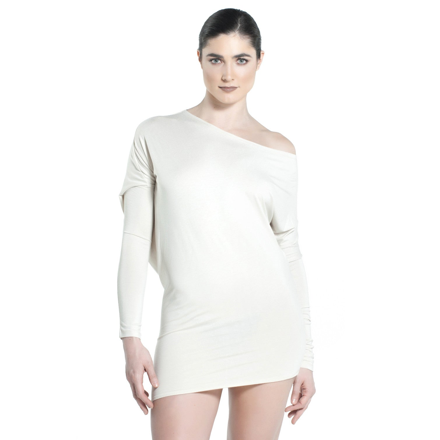 ASYMMETRICAL OVERSIZED JERSEY TOP IN LIGHT BEIGE