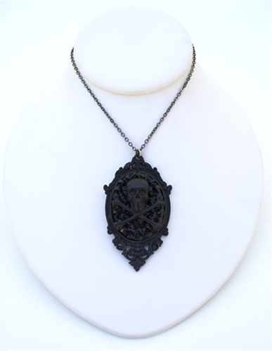 GASOLINE GLAMOUR - FLAT BLACK SKULL & BONES NECKLACE - FETISH