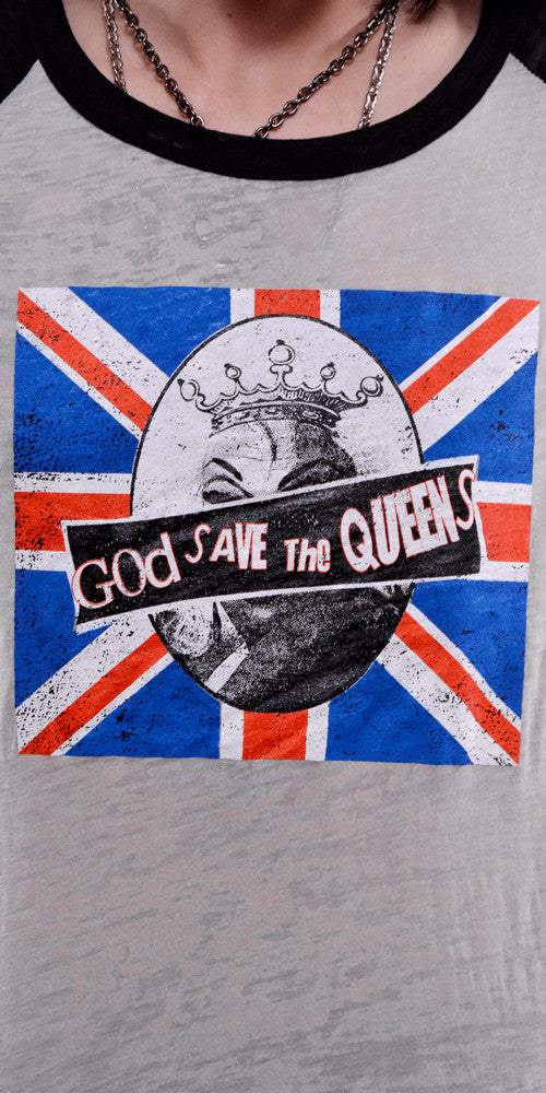 GOD SAVE THE QUEENS VINTAGE STYLE BASEBALL TEE