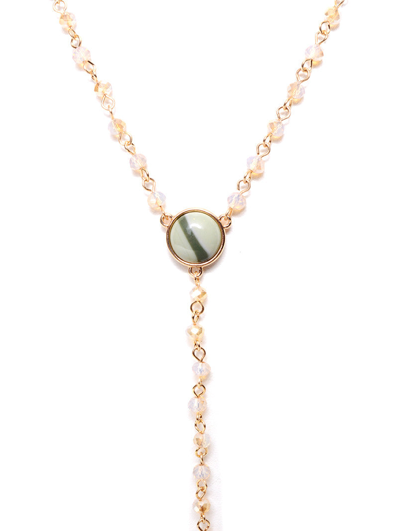 MARLYN SCHIFF - GREEN DRUZY PENDANT BEADED NECKLACE - FETISH