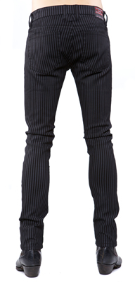 LIPSERVICE - GREY/BLACK STRIPED NEEDLE JEANS - FETISH