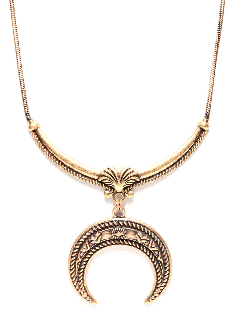 TRIBAL HALF MOON NECKLACE (2 COLORS AVAILABLE)