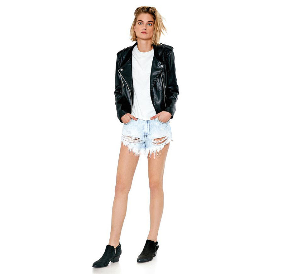 "Distressed Hi-Waisted Denim Shorts in ""Love Stoned"""