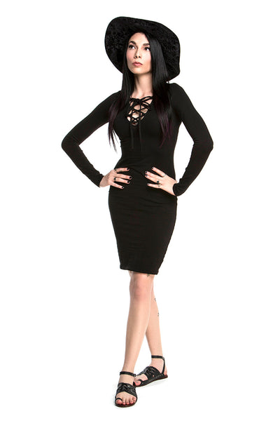KAYLA LACEUP BODYCON DRESS IN BLACK
