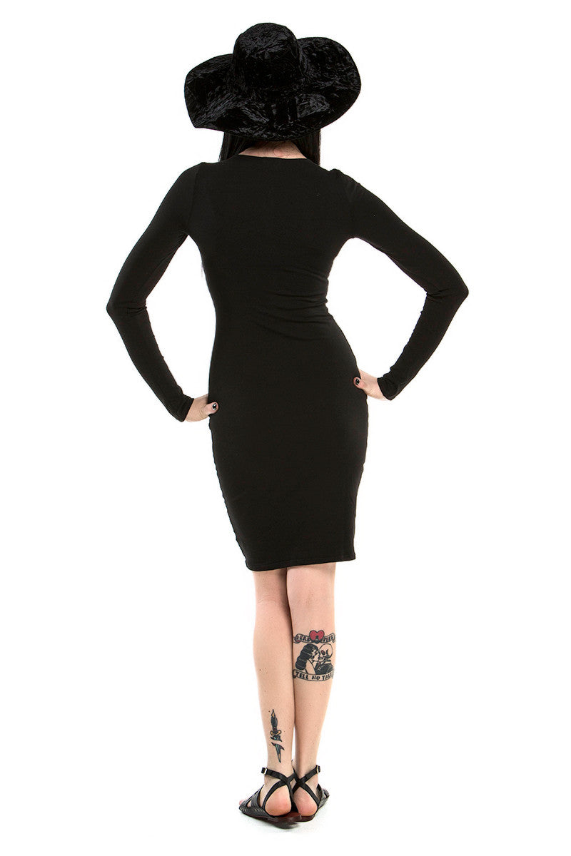 LA MADE - KAYLA LACEUP BODYCON DRESS IN BLACK - FETISH