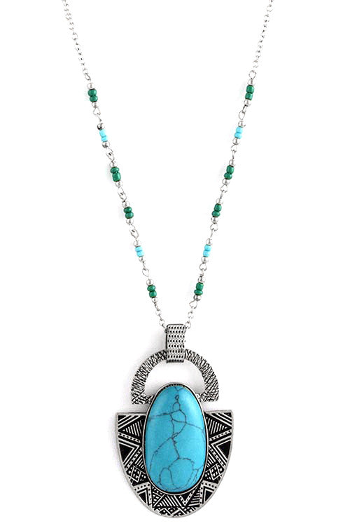 FETISH - LARGE OVAL STONE ACCENT TRIBAL NECKLACE - FETISH