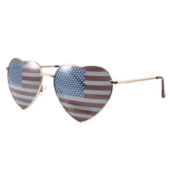 LUV US HEART SHAPED WIRE FRAME SUNGLASSES