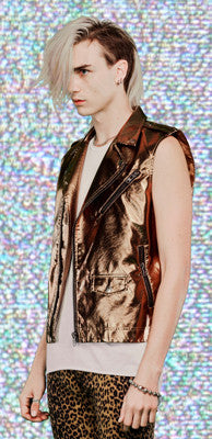 LIPSERVICE - MENS SLEEVELESS GOLD MOTO JACKET - FETISH