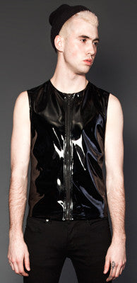 LIPSERVICE - 4 WAY STRETCH VINYL SLEEVELESS SHIRT - FETISH