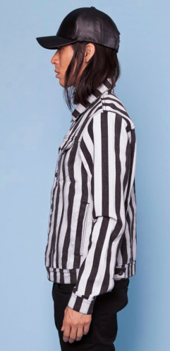 BLOW THE WHISTLE REFEREE STRIPE TRUCKER JACKET