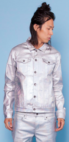 FOIL COATED STRETCH TWILL TRUCKER JACKET
