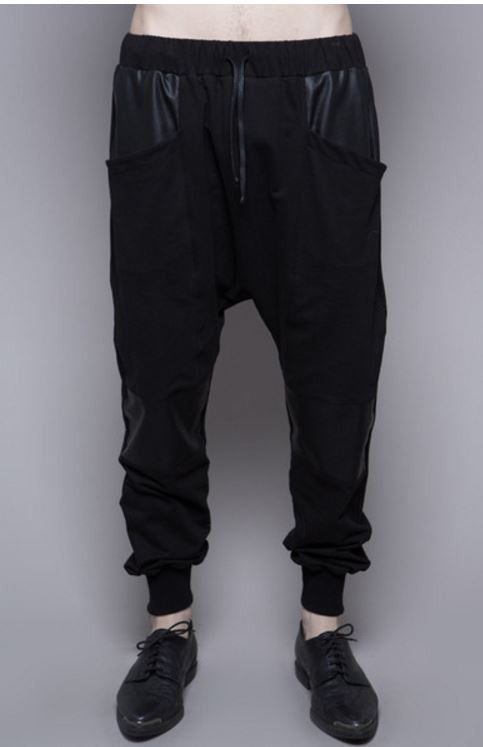 HOUSE OF WIDOW - RESURRECTION PAST FRENCH TERRY DROP CROTCH PANTS WITH WAXED CONTRAST - FETISH