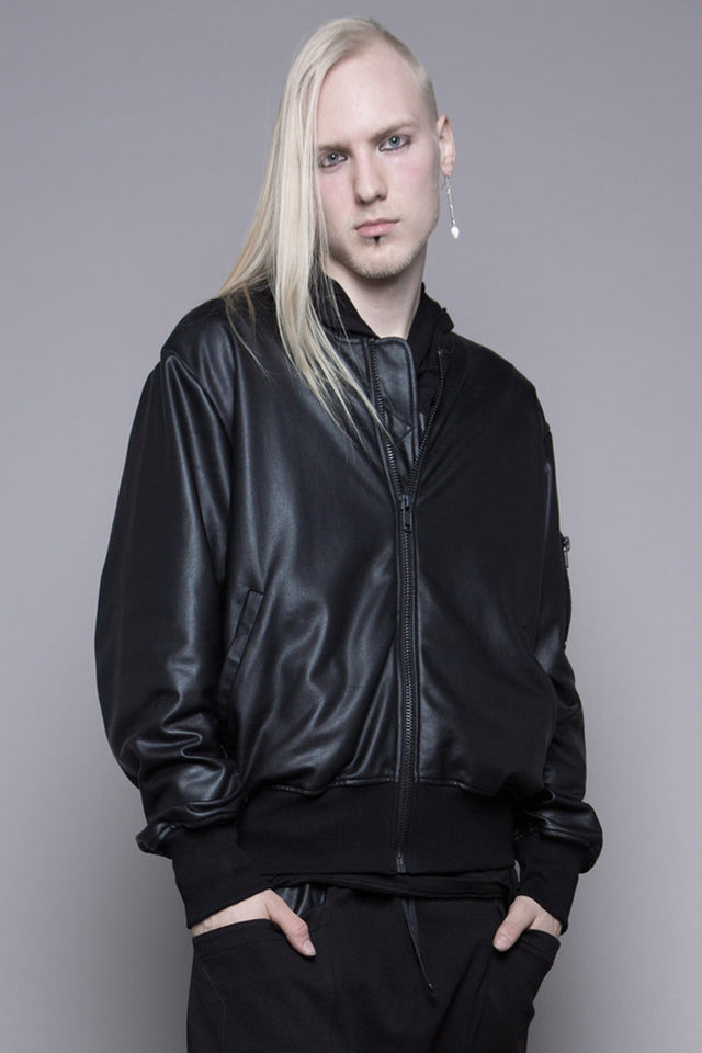 HOUSE OF WIDOW - RESTLESS RUINS WAX COATED FRENCH TERRY BOMBER JACKET - FETISH