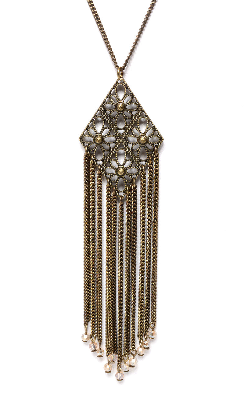 MARLYN SCHIFF - METAL DIAMOND FRINGE NECKLACE (2 COLORS AVAILABLE) - FETISH