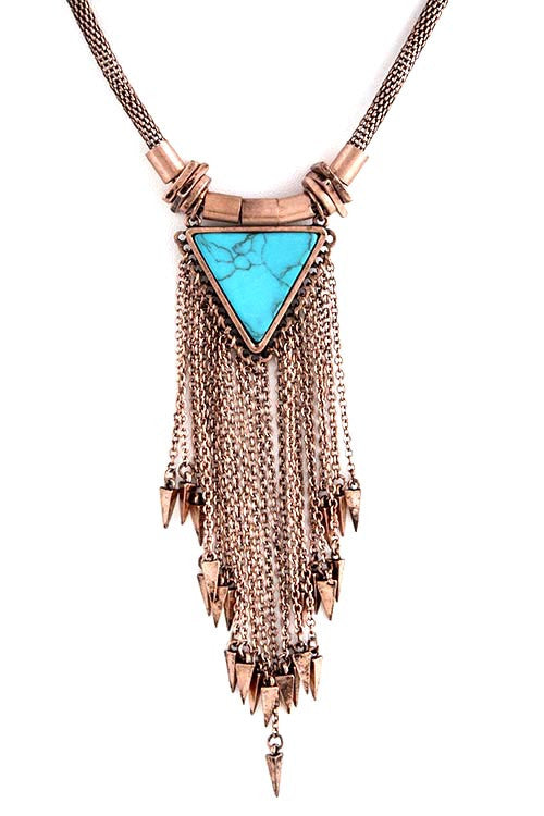FETISH - MULTI TRIANGLE FRINGE PENDANT NECKLACE - FETISH
