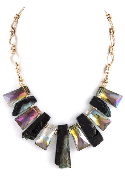 FETISH - MULTI MIX STONE BIB NECKLACE - FETISH