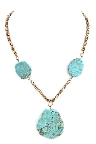 FETISH - NATURAL CUT FAUX STONE LINK NECKLACE - FETISH