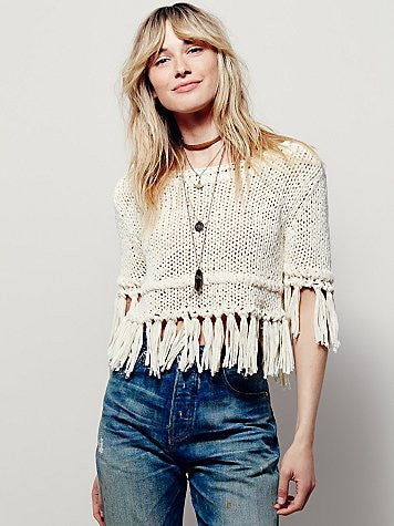 FREE PEOPLE - ON THE FRINGE PULLOVER SWEATER - FETISH