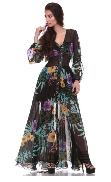 TOV - FLORAL PRINT CHIFFON MAXI DRESS - FETISH