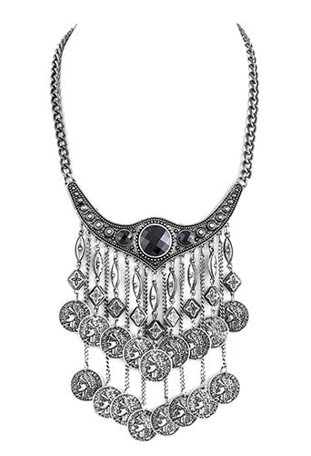 FETISH - ORNATE COLLARED COIN FRINGED BIB NECKLACE ANTIQUE SILVER - FETISH