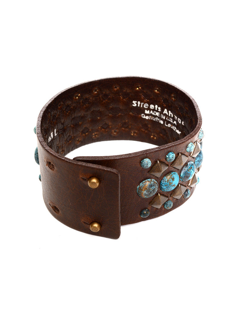STREETS AHEAD - PATINA BRASS NAIL HEAD CUFF - FETISH