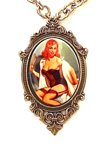 GASOLINE GLAMOUR - PIN UP LACE GARTERS PORCELAIN CAMEO NECKLACE - FETISH