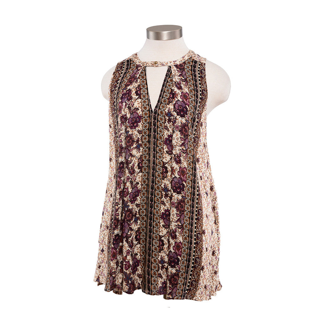 Purple Floral Trapeze Tunic