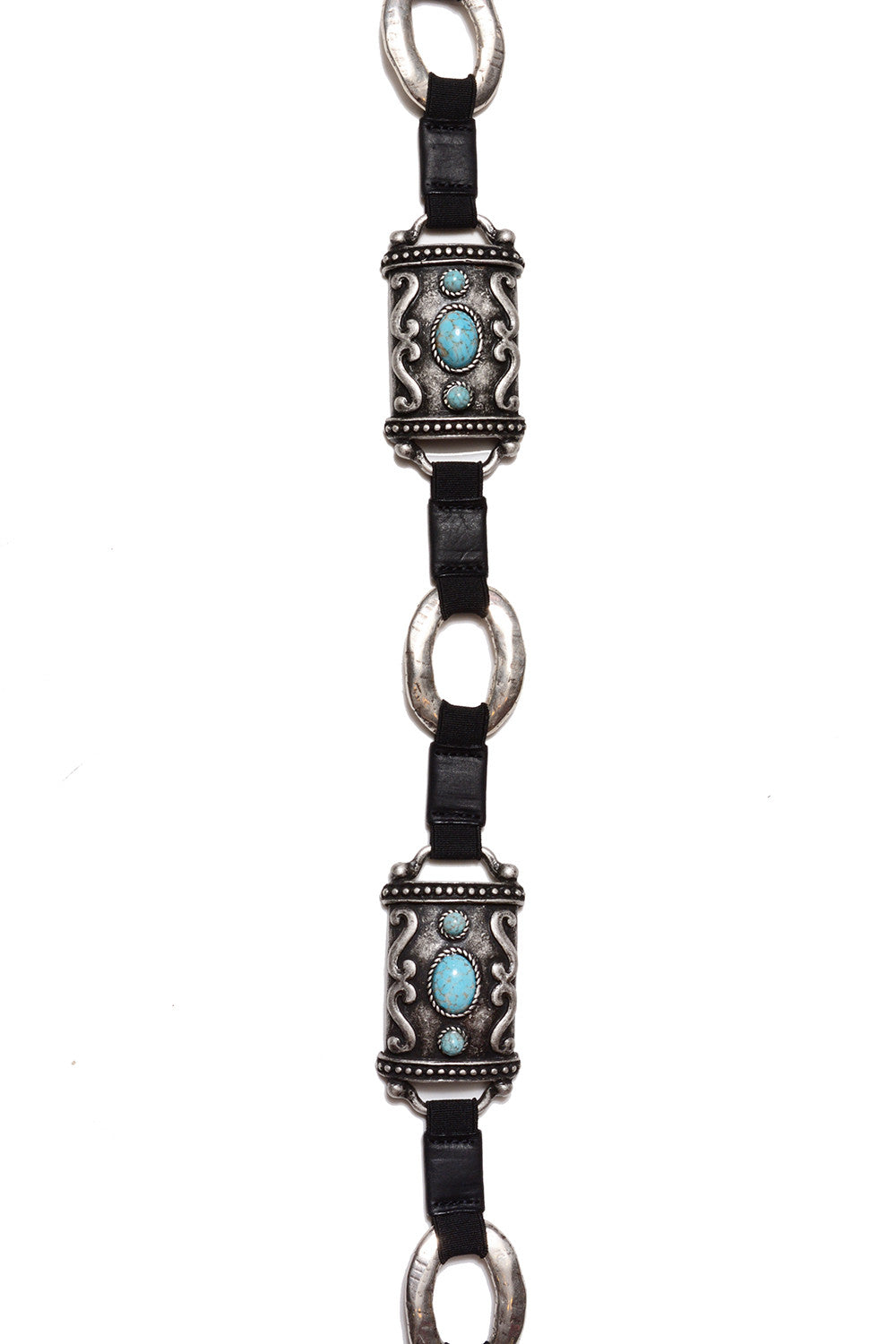 STREETS AHEAD - ANTIQUE SILVER & TURQUOISE RECTANGULAR BELT - FETISH