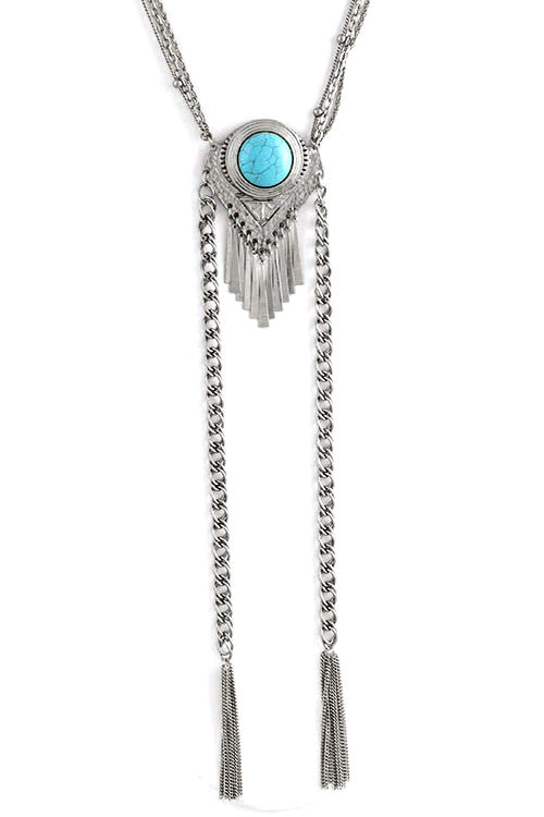 FETISH - ROUND STONE TASSEL DROP NECKLACE - FETISH