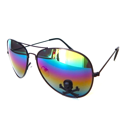RAINBOW AVIATORS WITH BLACK SKULL