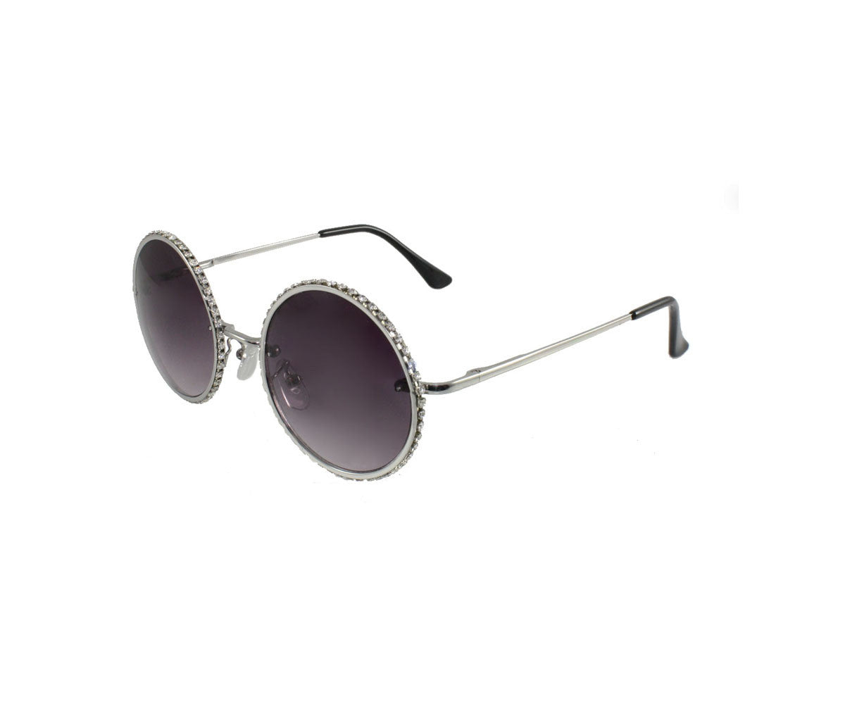 FETISH - Round Silver Rhinestone Sunglasses - FETISH