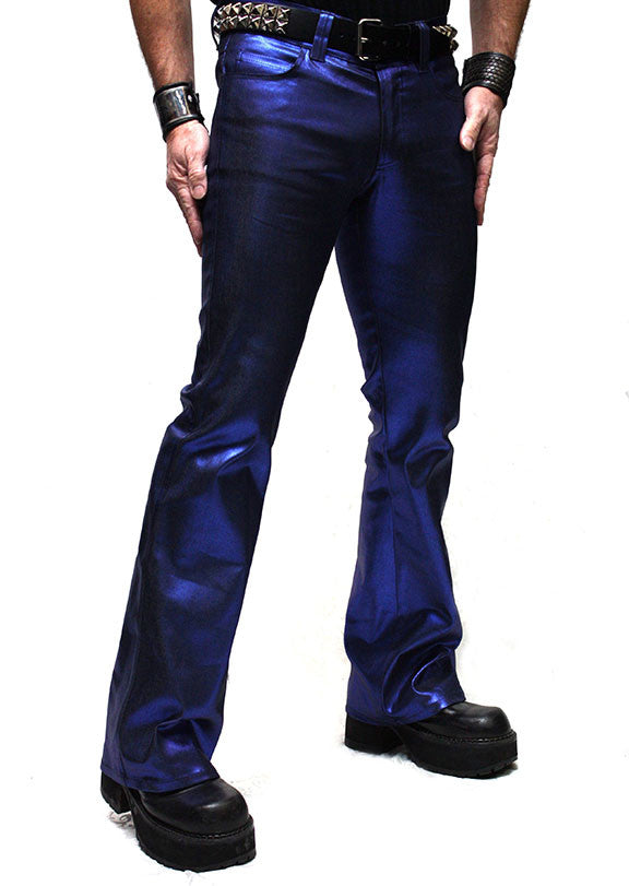 SHRINE UNDERGROUND COUTURE - METALLIC BIKER JEANS  IN BLUE - FETISH