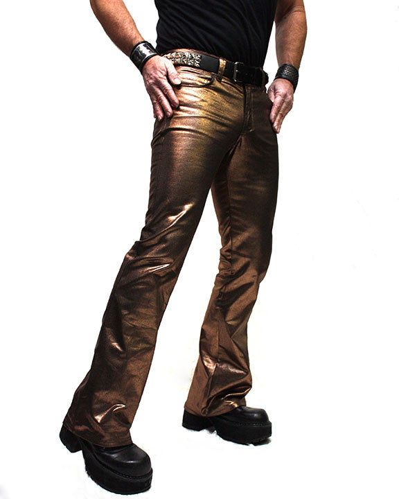 SHRINE UNDERGROUND COUTURE - METALLIC BIKER JEANS IN COPPER - FETISH