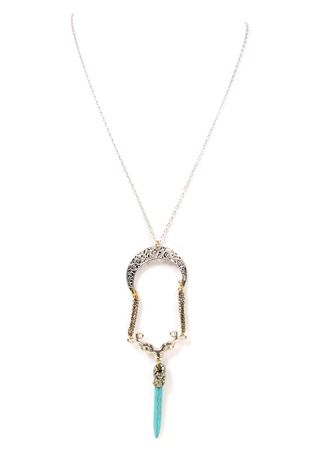 MARLY MORETTI - SILVER CRESCENT MOON W/ TURQUOISE POINTY PENDANT - FETISH
