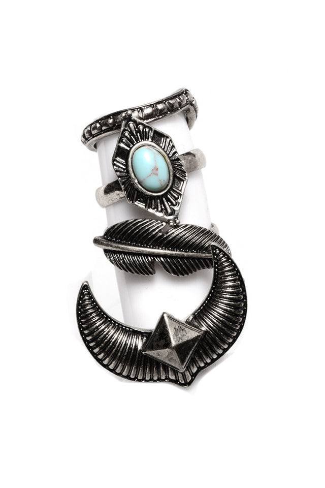 FETISH - 4 STACKED BOHO RINGS (2 COLORS AVAILABLE) - FETISH