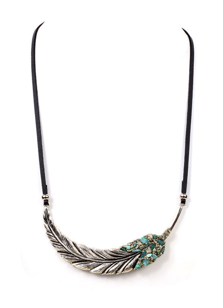 SILVER FEATHER ON LEATHER CORD