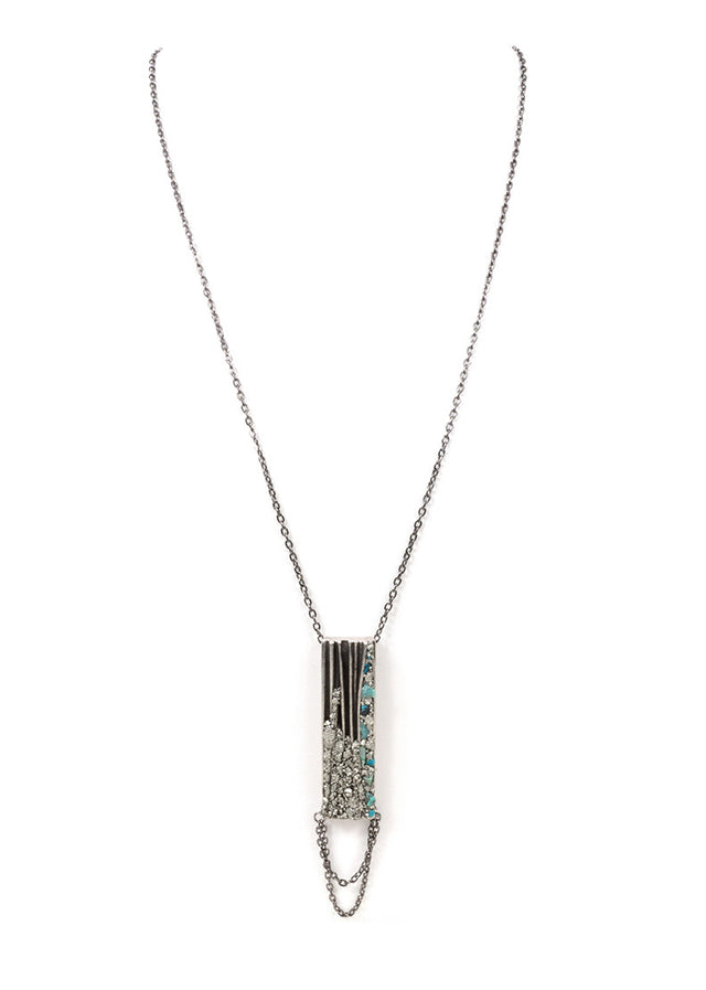 MARLY MORETTI - SILVER VINTAGE RECTANGLE NECKLACE - FETISH