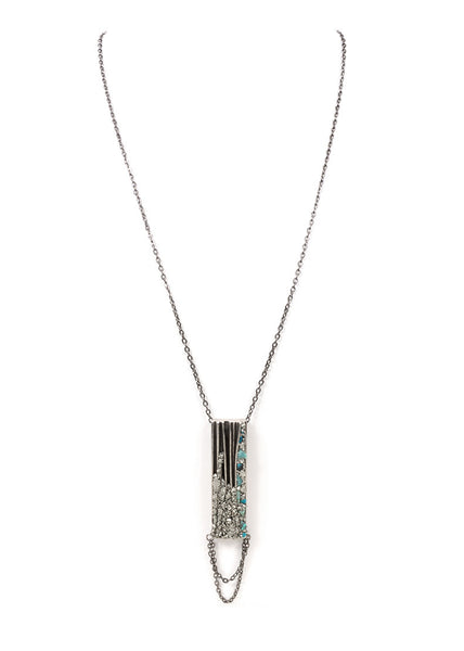 SILVER VINTAGE RECTANGLE NECKLACE