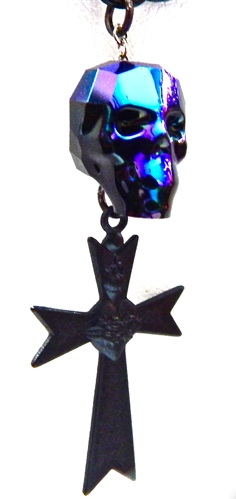 GASOLINE GLAMOUR - SPELLBINDER MIDNIGHT MOON SKULL & CROSS NECKLACE - FETISH