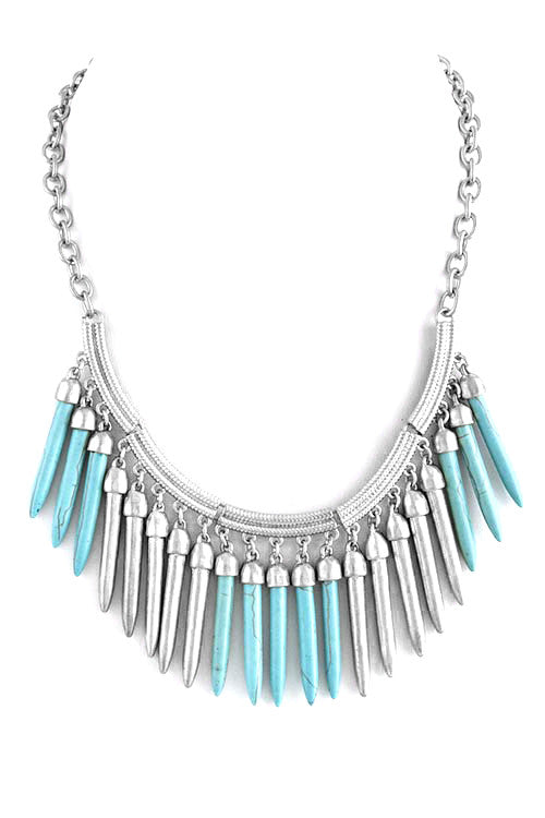 FETISH - SPIKY FAUX GEM AND METAL FRINGE NECKLACE - FETISH
