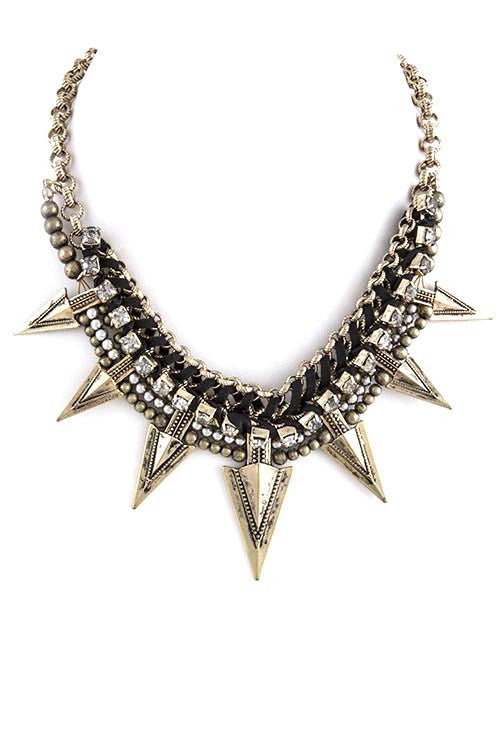 FETISH - SPIKY PENDANT BIB NECKLACE - FETISH
