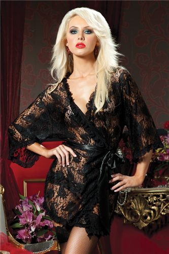 SEVEN 'TIL MIDNIGHT - LACE PAISLEY ROBE - FETISH
