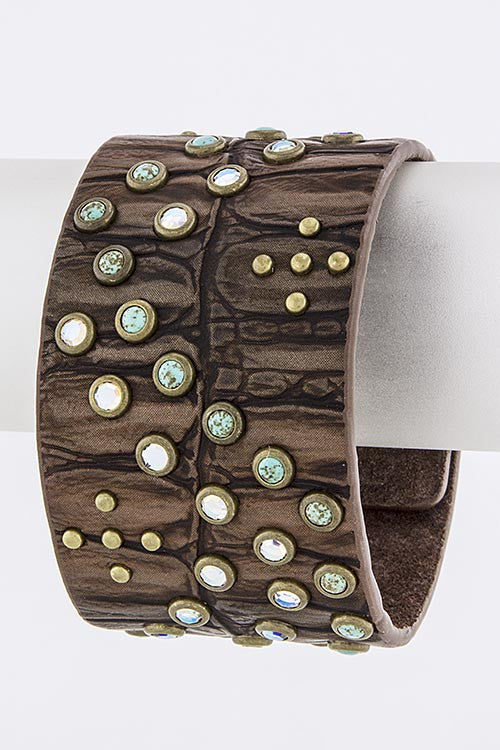 STONE AND CRYSTAL EMBEDDED LEATHER BRACELET