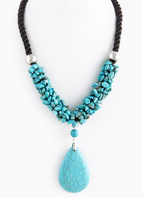 FETISH - TEARDROP STONE ACCENT ROPE NECKLACE - FETISH