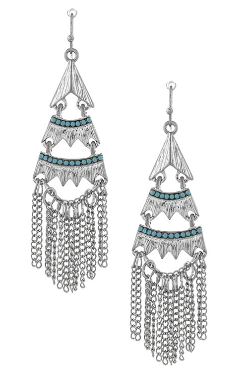 FETISH - SILVER TIERED FRINGE EARRINGS - FETISH
