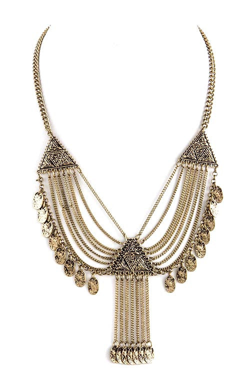 TRIBAL MOTIF CHAIN FRINGE NECKLACE