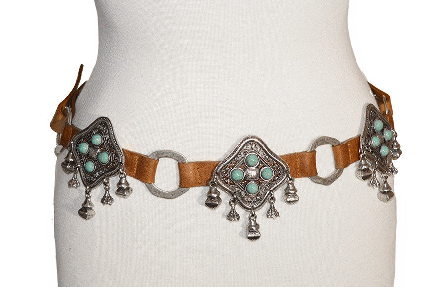 STREETS AHEAD - TURQUOISE CONCHO CHARM BELT - FETISH