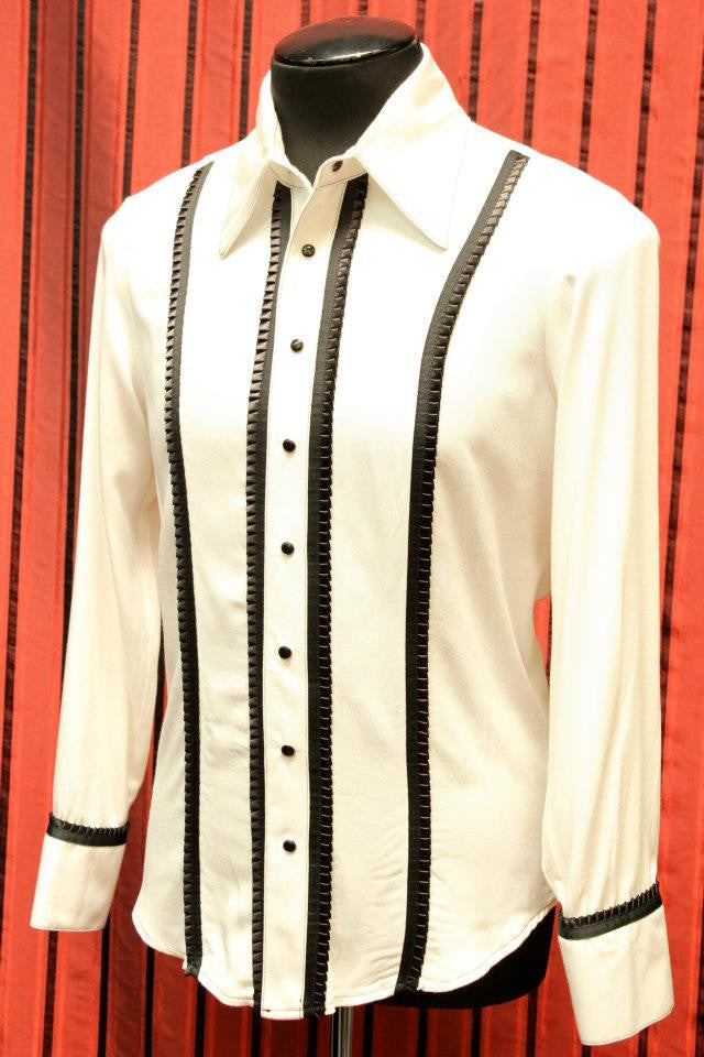 SHRINE UNDERGROUND COUTURE - TUXEDO SHIRT WITH RUFFLE SEAM - WHITE & BLACK - FETISH